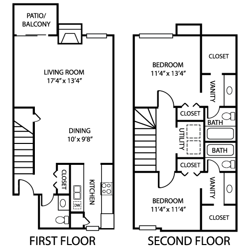1,254 sq. ft. B2 floor plan