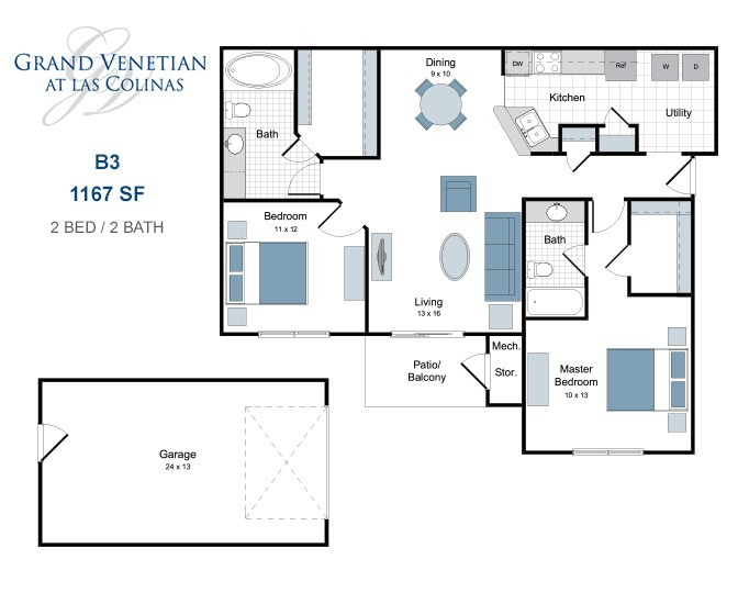 1,167 sq. ft. B3 floor plan