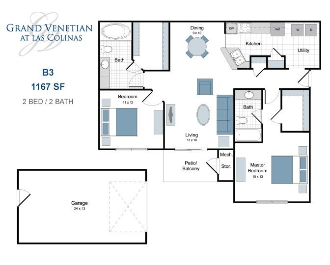 1,167 sq. ft. B3 floor plan