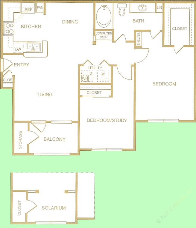 897 sq. ft. to 963 sq. ft. Guadalupe floor plan
