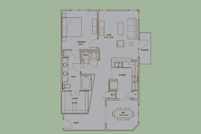 1,123 sq. ft. A6A floor plan