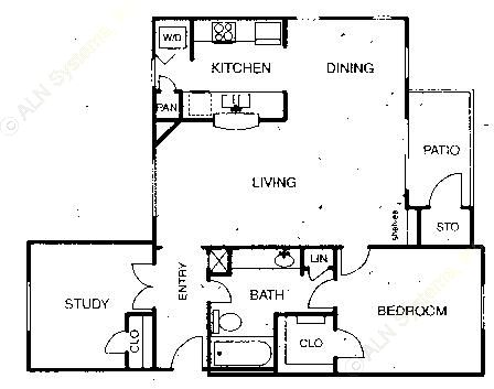 966 sq. ft. A5 floor plan