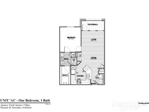 705 sq. ft. A1 50 floor plan