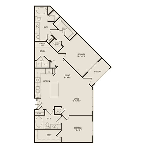 1,270 sq. ft. B2 floor plan