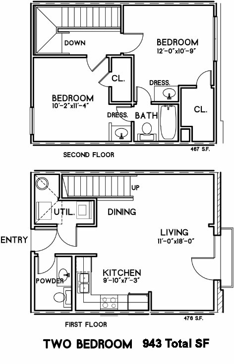 943 sq. ft. Alexandria floor plan