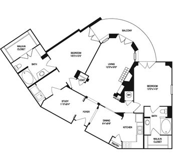 1,413 sq. ft. to 1,543 sq. ft. floor plan