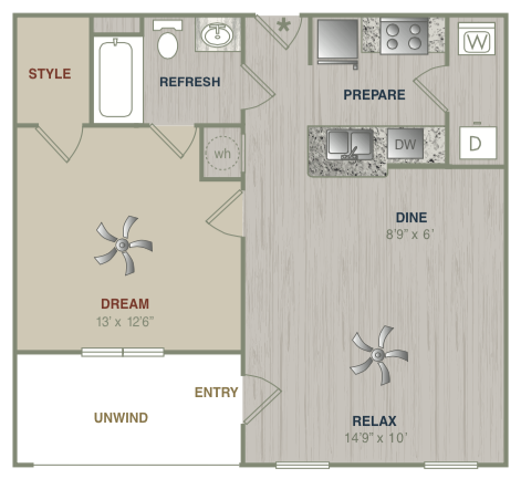 666 sq. ft. A1LG floor plan