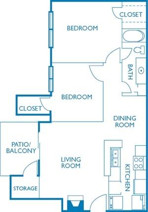 848 sq. ft. Fairview floor plan