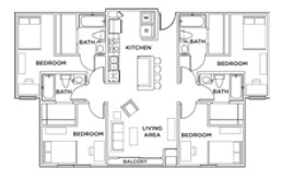 1,216 sq. ft. 4x4 A floor plan