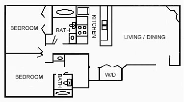 895 sq. ft. floor plan