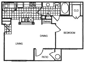 790 sq. ft. B floor plan