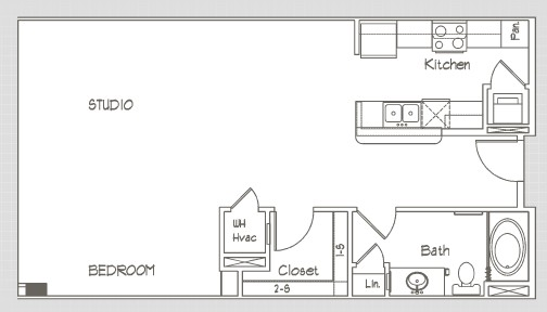 742 sq. ft. S5.6 floor plan