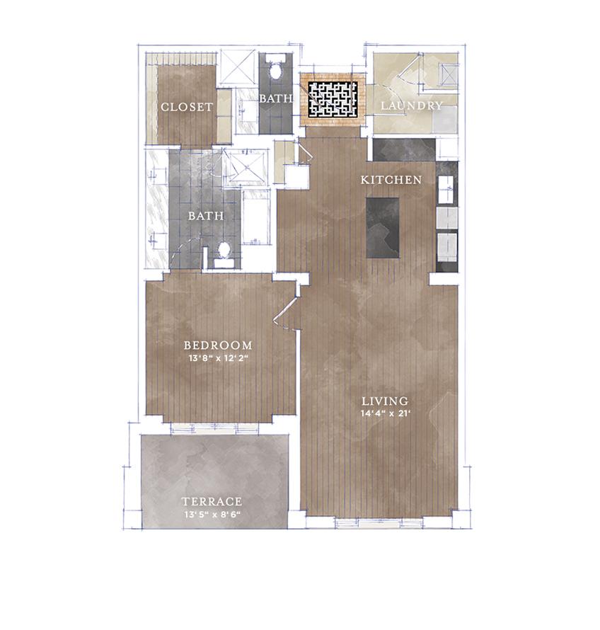 1,118 sq. ft. A4.2 floor plan