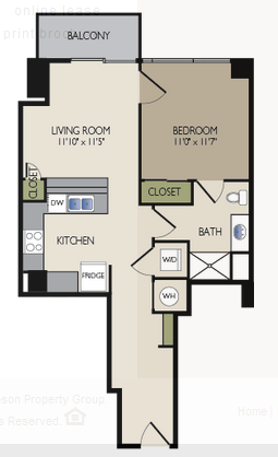 655 sq. ft. B3 floor plan