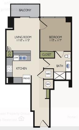 655 sq. ft. B4 floor plan