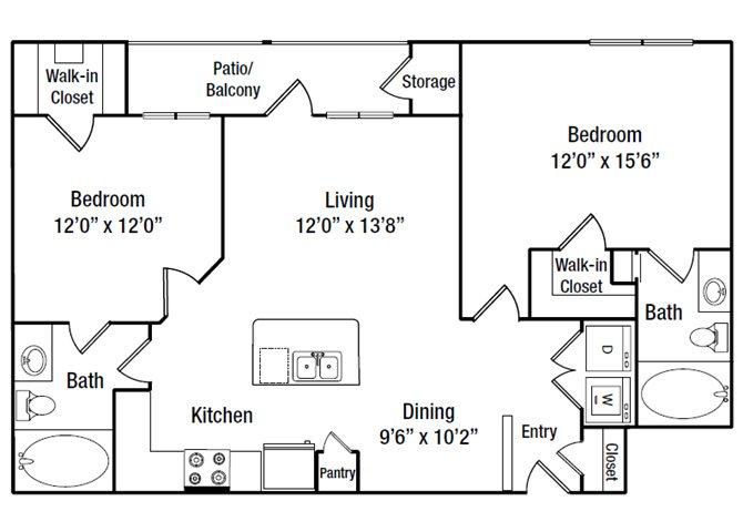 974 sq. ft. B3 floor plan