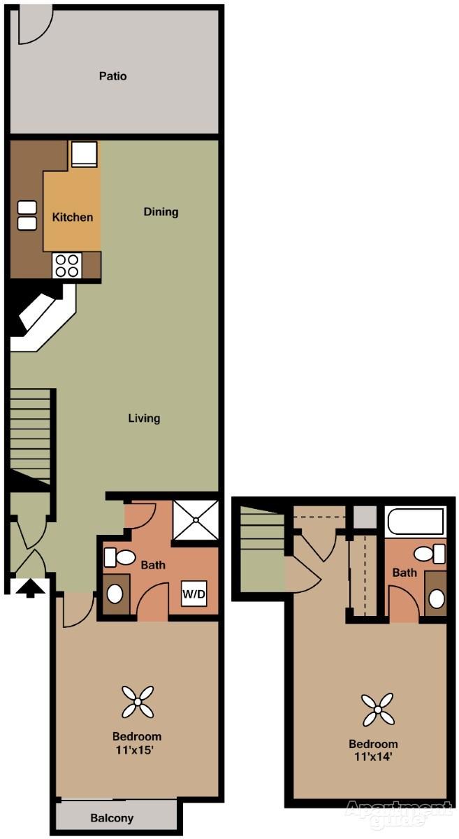 1,024 sq. ft. E floor plan
