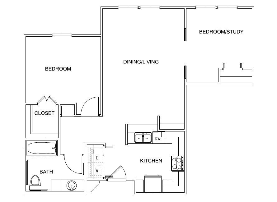 686 sq. ft. Bennett 30% floor plan