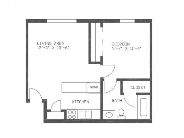 515 sq. ft. Mimosa floor plan