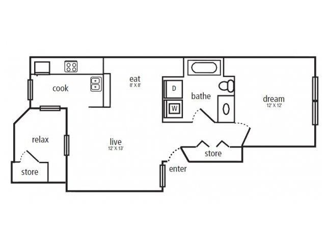 610 sq. ft. A-1 floor plan