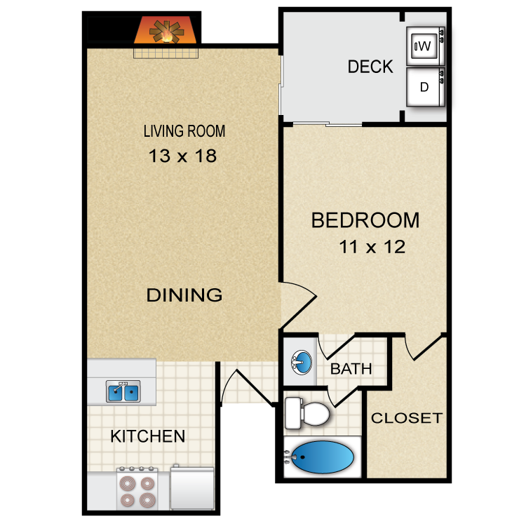 686 sq. ft. A2 floor plan
