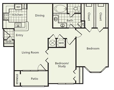 1,014 sq. ft. C2 floor plan