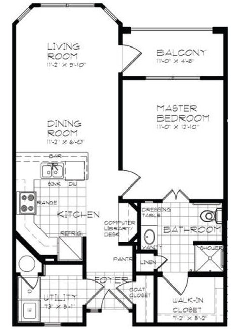 700 sq. ft. A1 60% floor plan