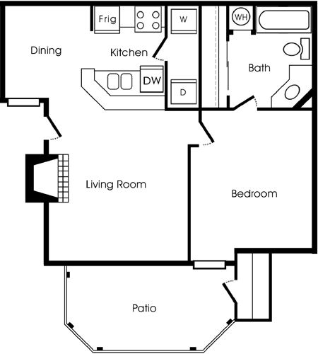 619 sq. ft. A floor plan