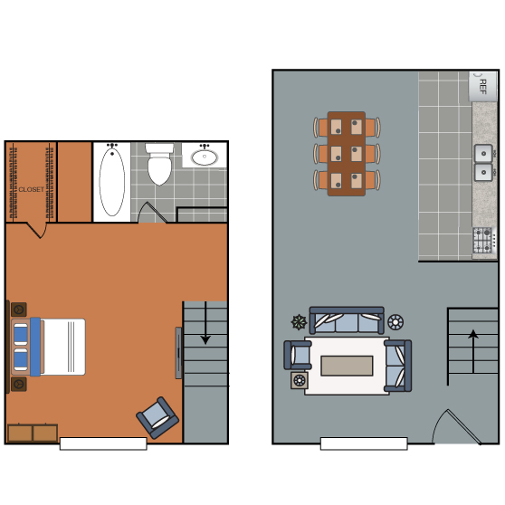 583 sq. ft. Apollo floor plan