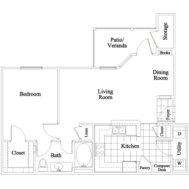 723 sq. ft. Creekbend floor plan