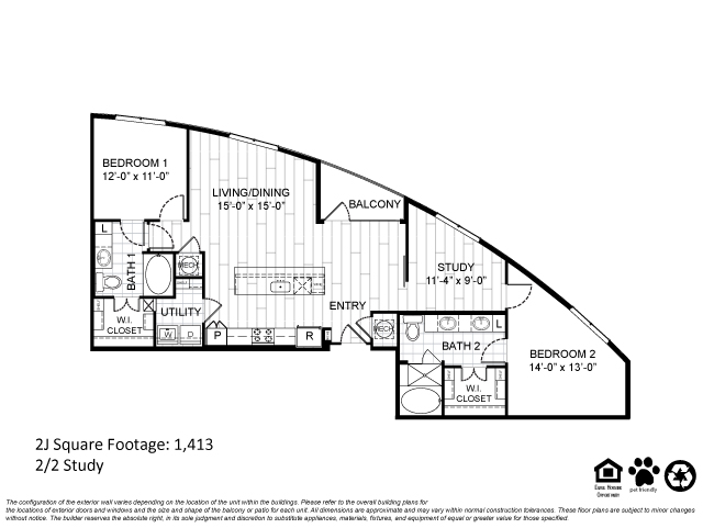 1,413 sq. ft. 2J floor plan
