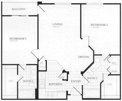 1,010 sq. ft. to 1,014 sq. ft. floor plan