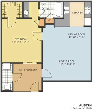 460 sq. ft. AUSTIN floor plan