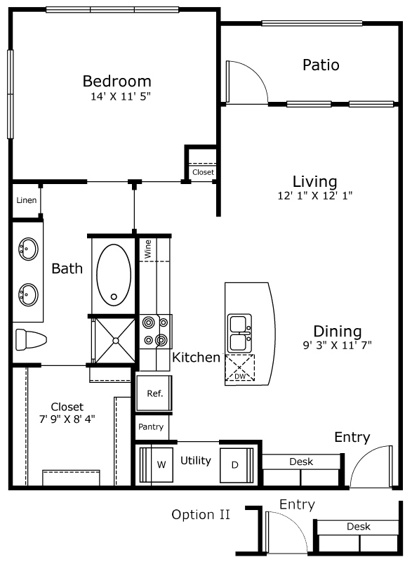 810 sq. ft. A4 floor plan