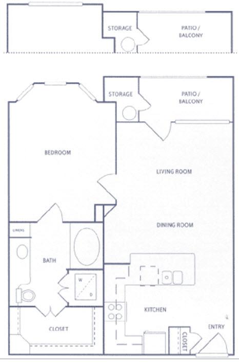 733 sq. ft. A1bu floor plan