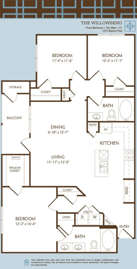 1,275 sq. ft. to 1,279 sq. ft. C1/WILLOWBEND floor plan