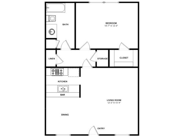 610 sq. ft. A3 floor plan