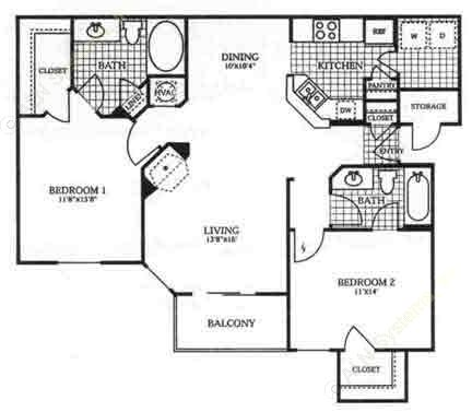 1,094 sq. ft. to 1,095 sq. ft. B2 floor plan
