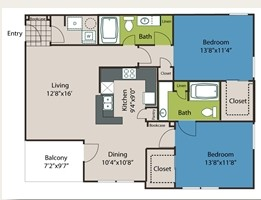 1,152 sq. ft. B1 floor plan