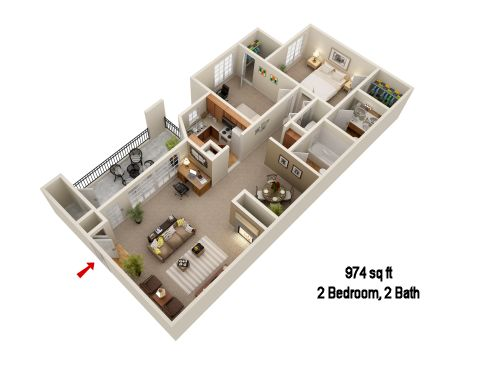974 sq. ft. B1 floor plan