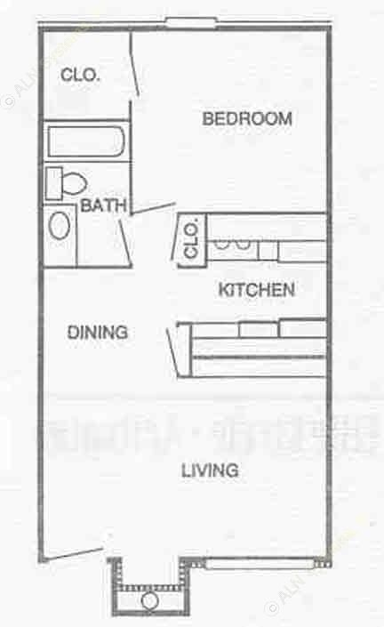 553 sq. ft. A1 floor plan