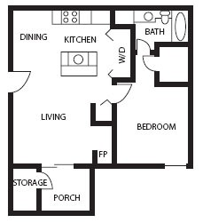 676 sq. ft. Topaz floor plan