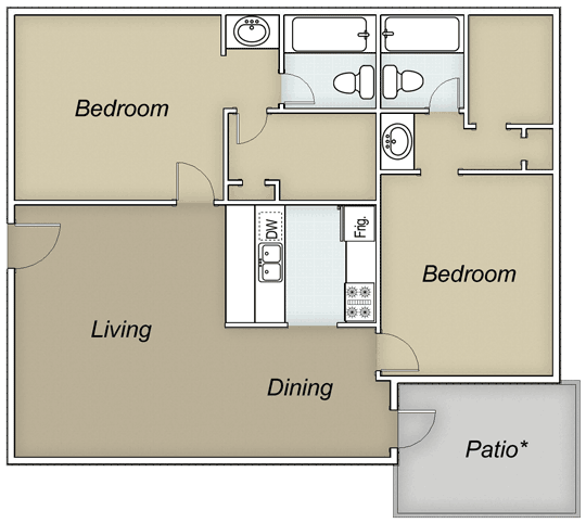867 sq. ft. B2E floor plan