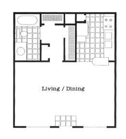 450 sq. ft. EFF/60 floor plan