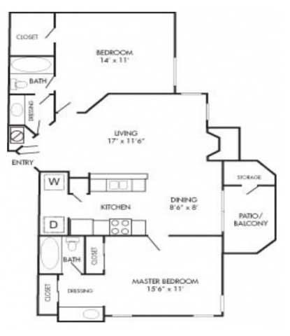 946 sq. ft. B2 floor plan