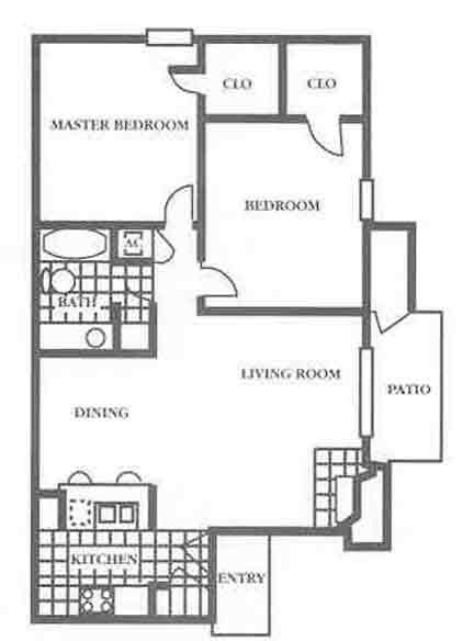 820 sq. ft. B1 floor plan