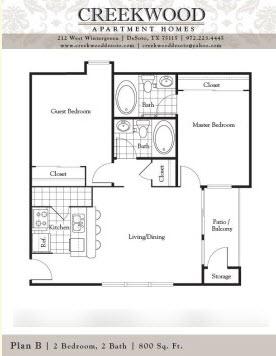 800 sq. ft. B floor plan