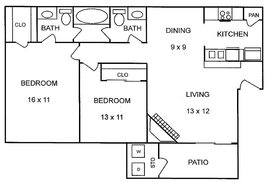 840 sq. ft. Redwood floor plan