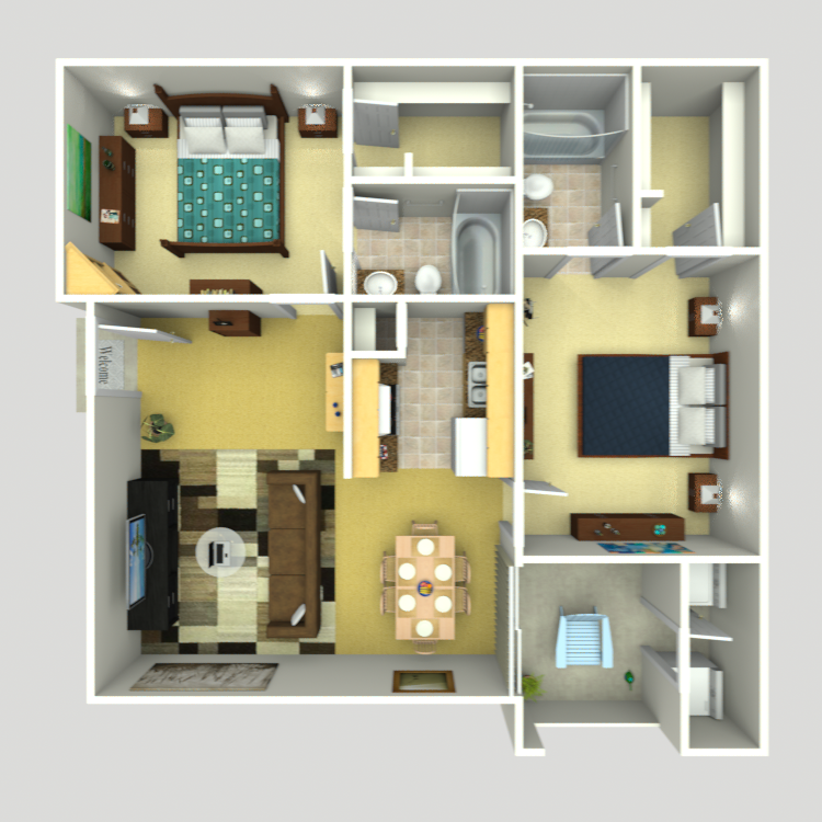 888 sq. ft. C-1 floor plan