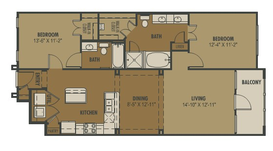 1,125 sq. ft. Fiore floor plan
